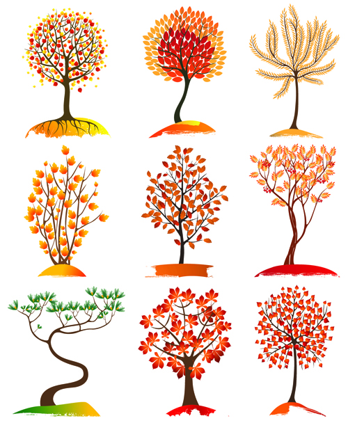 Autumn tree icons material vector 02