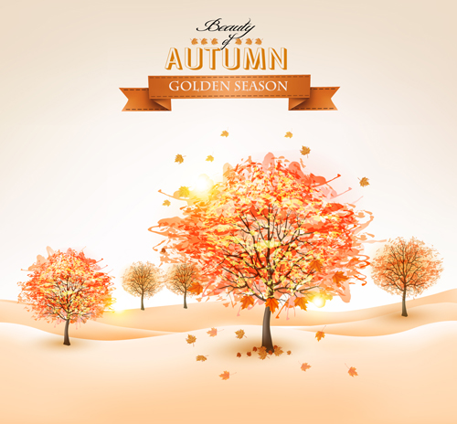 Beautiful autumn tree background vector