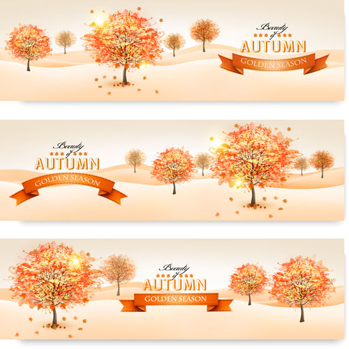 Beautiful autumn tree banners vector material 01