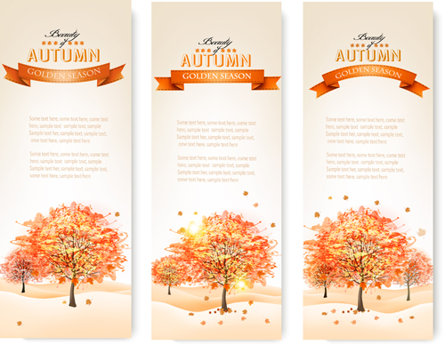 Beautiful autumn tree banners vector material 02