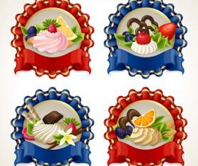 Beautiful food ribbon labels vector set 01
