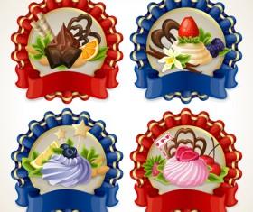 Beautiful food ribbon labels vector set 02