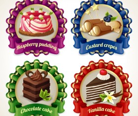 Beautiful food ribbon labels vector set 03