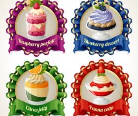 Beautiful food ribbon labels vector set 04