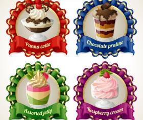 Beautiful food ribbon labels vector set 05