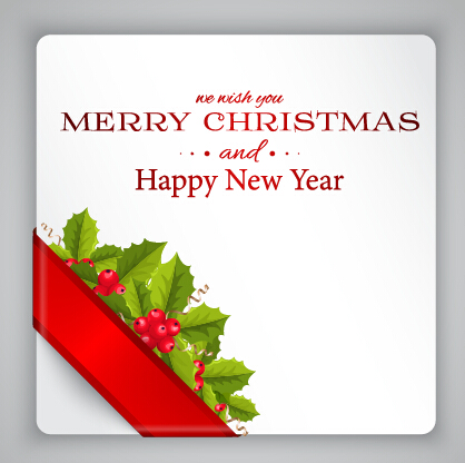 Berries with christmas greeting card vector