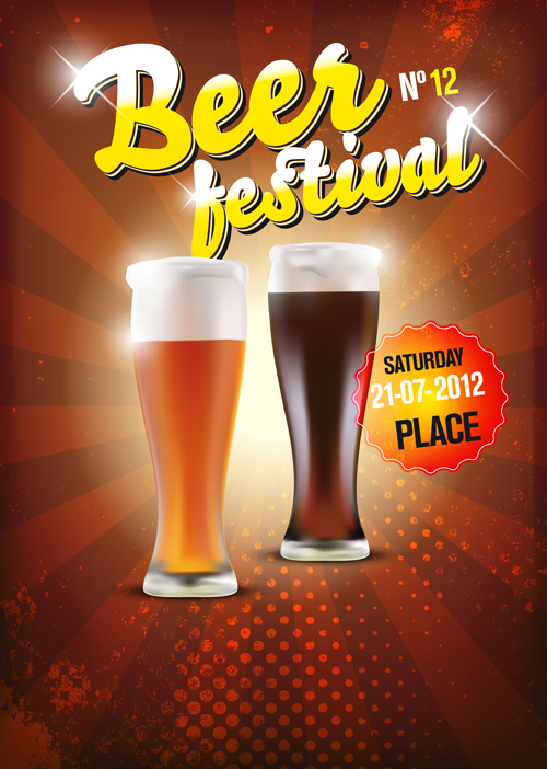 best beer advertising poster vector graphics free download