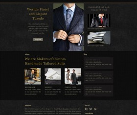 Black style male suits website psd template