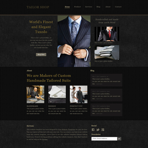 ... male suits website psd template - Web Elements PSD File free download