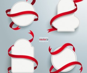 Blank labels with red ribbon vector set 06