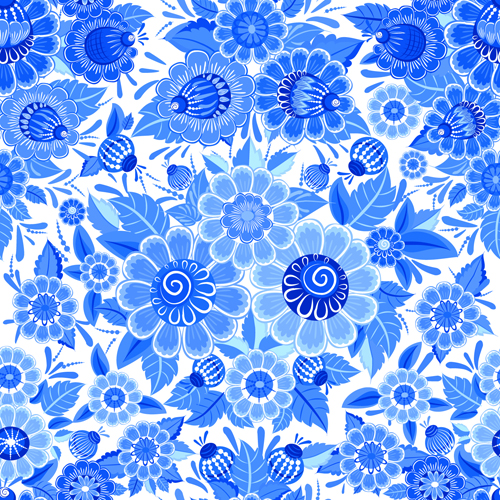 Blue ornaments floral pattern vector material 02