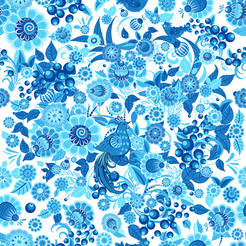 Blue ornaments floral pattern vector material 03