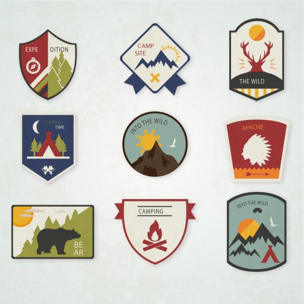 Camping label retro design vector