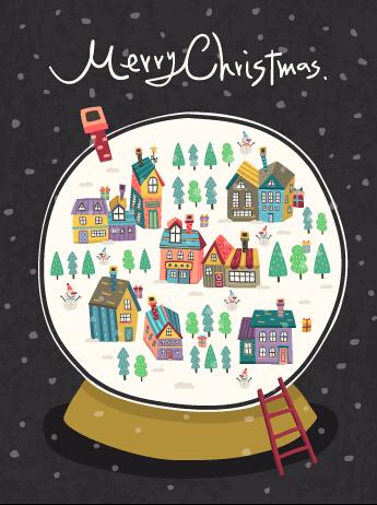 Cartoon christmas night vector background