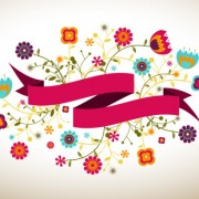 Link toCartoon flowers and ribbon vector free