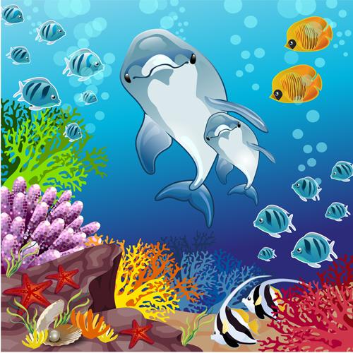 Cartoon underwater world vector background - Vector ...