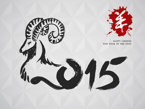 Chinese new year of goat vector background 02