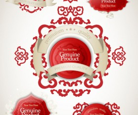 Chinese style red labels vector material