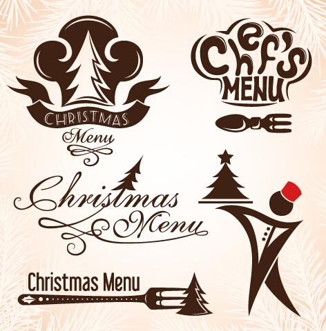 Christmas Menu Design Elements Vector Set 04 Free Download