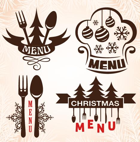Christmas Menu Design Elements Vector Set 06