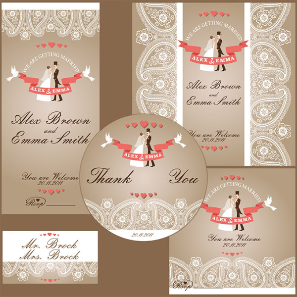 Classic wedding invitation kit vector free download classic wedding invitation kit vector stopboris Images