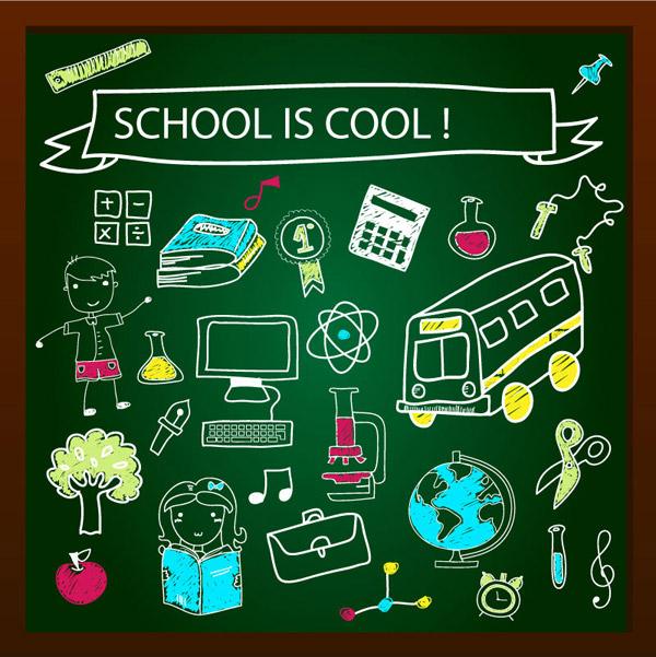 Color drawn school elements vector set