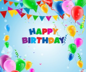 Confetti with colored balloons birthday background 01