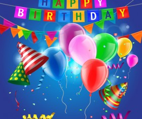 Confetti with colored balloons birthday background 02