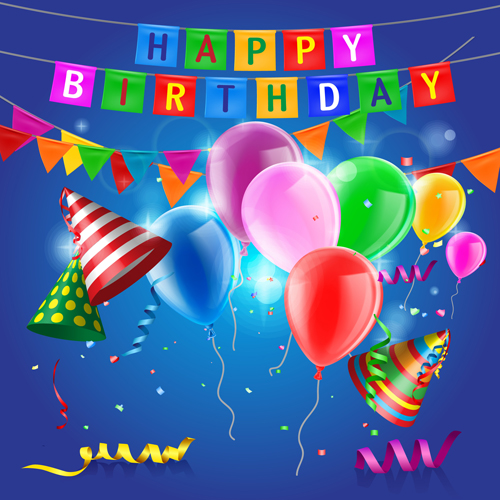 Confetti With Colored Balloons Birthday Background 02 Free