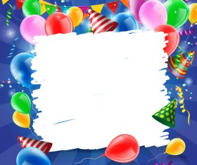 Confetti with colored balloons birthday background 03
