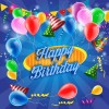 Confetti with colored balloons birthday background 04