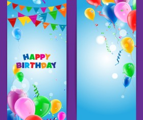 Confetti with colored balloons birthday banner vector 01