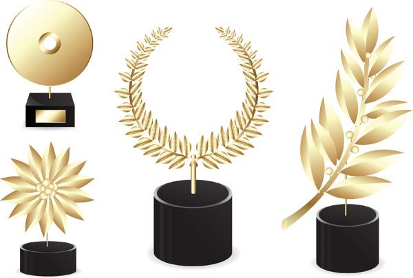 Creative golden awards vector material 01