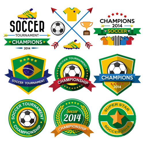 Creative soccer vector labels set 01
