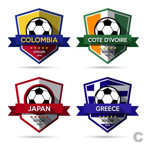 Creative soccer vector labels set 02