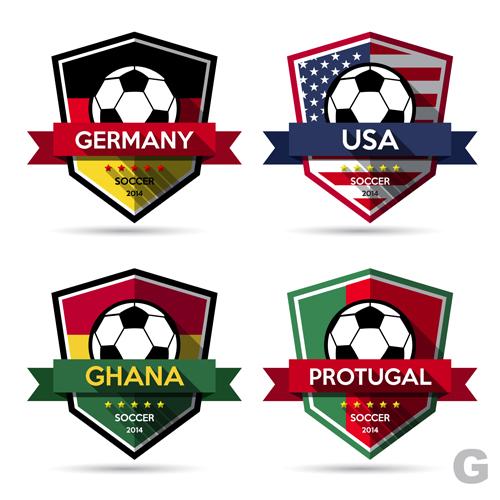 Creative soccer vector labels set 05
