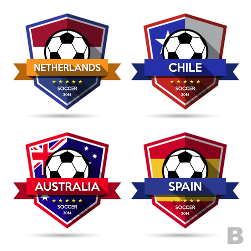 Creative soccer vector labels set 06