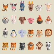Cute cartoon animals free icons vector