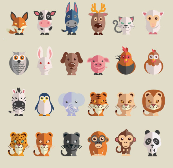 Cute cartoon animals free icons vector animal icons vector cute cartoon animals free icons vector voltagebd Gallery