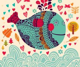 Cute cartoon floral animals pattern vector set 01