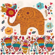 Cute cartoon floral animals pattern vector set 03