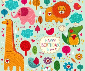 Cute cartoon floral animals pattern vector set 04