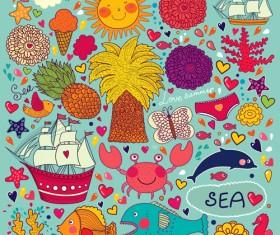 Cute cartoon floral animals pattern vector set 06