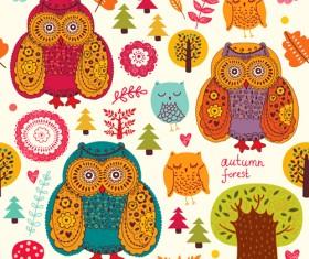 Cute cartoon floral animals pattern vector set 07
