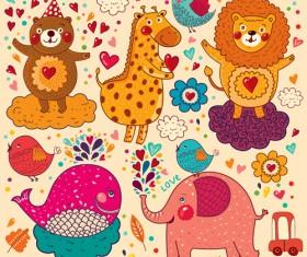 Cute cartoon floral animals pattern vector set 11