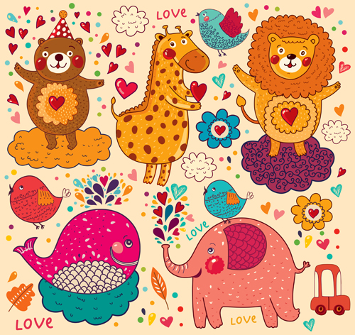 Cute Cartoon Floral Animals Pattern Vector Set 11 Vector