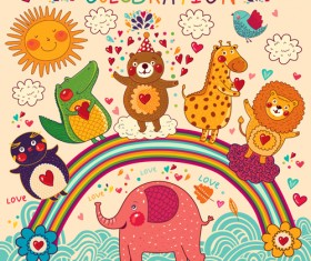 Cute cartoon floral animals pattern vector set 12