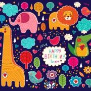 Cute cartoon floral animals pattern vector set 13