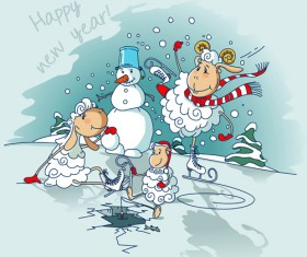 Cute sheeps with snowman new year background