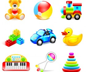 Cute toy icons shiny vector